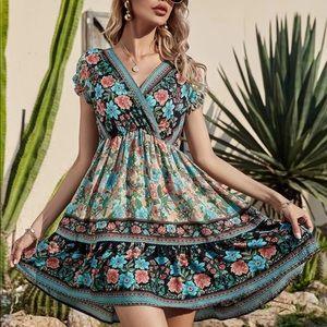 Boho Gypsy Floral Print V Neck Dress